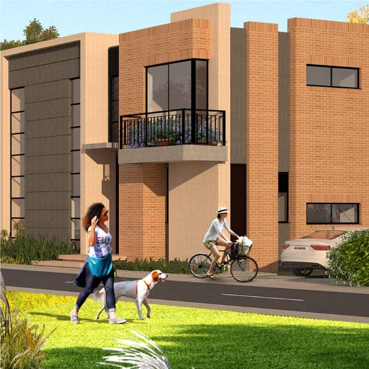 Proyecto residencial en un día soleado